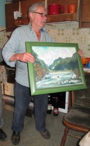 Peter Mužan s podarjeno sliko